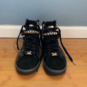 Michael Kors Black and Gold High Top Sneakers